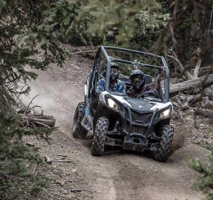 Buggy dans les trails - vacances en famille au Québec